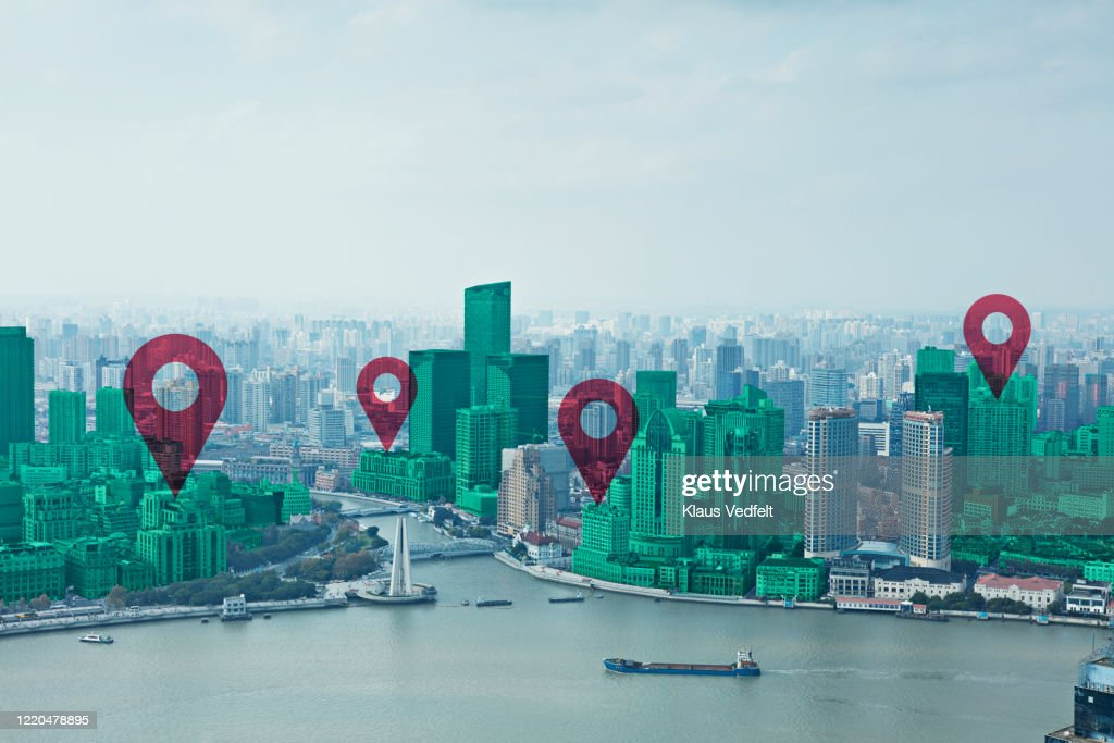 Map pin flat on green cityscape and Huangpu River : Stockfoto