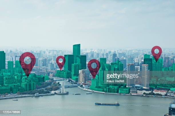 map pin flat on green cityscape and huangpu river - direction stock pictures, royalty-free photos & images