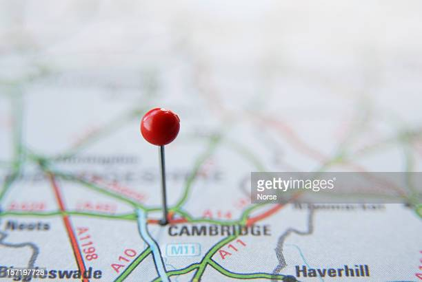 map pin in cambridge - cambridge england stock pictures, royalty-free photos & images