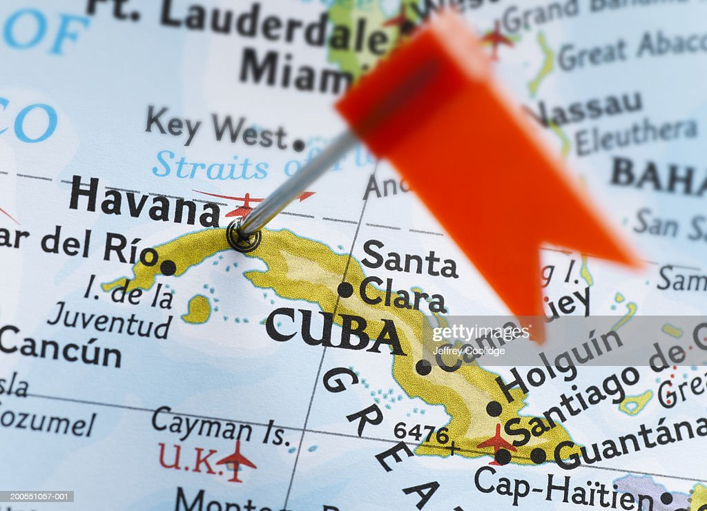 Map Pin Placed In Havana Cuba On Map Closeup Stock Photo Getty - Cuba on map