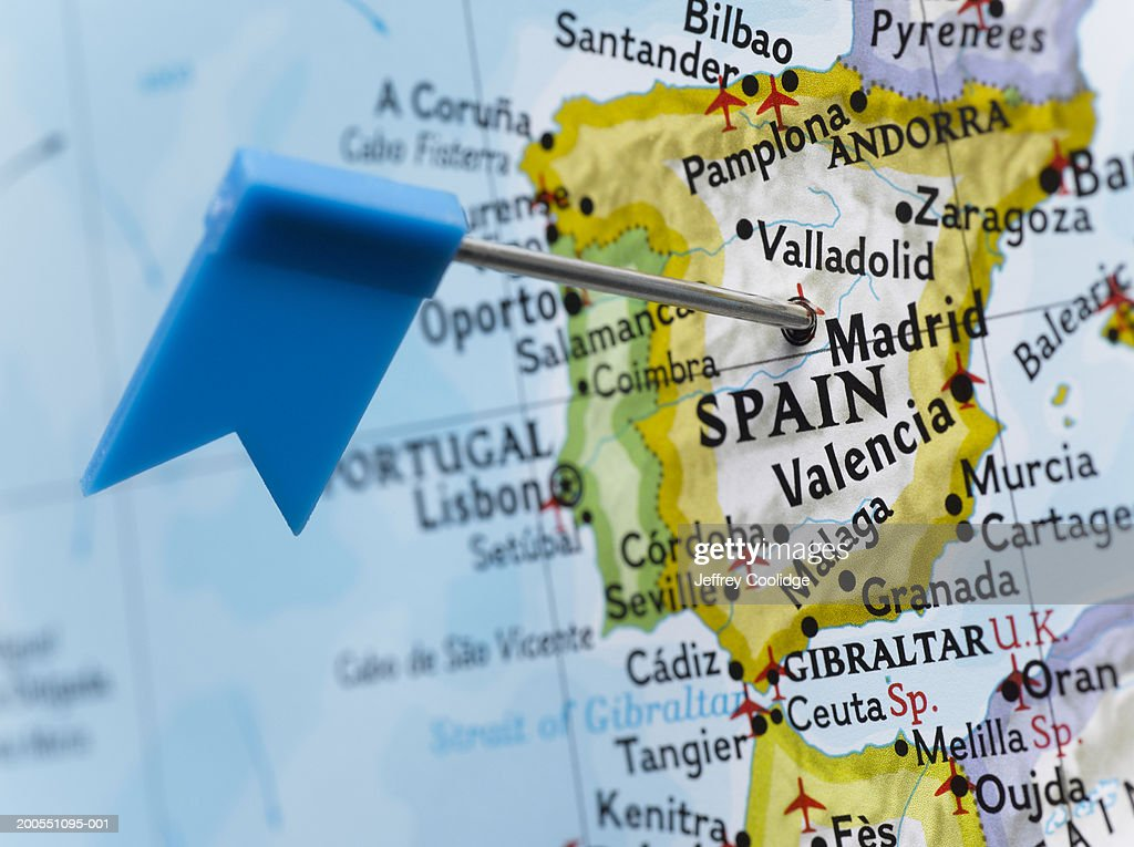Map Pin Placed In Madrid Spain On Map Closeup Stock-Foto | Getty Images