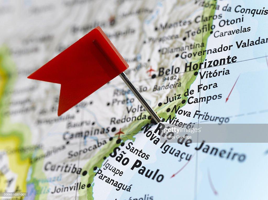 Map Pin Placed In Rio De Janeiro Brazil On Map Closeup Stock ...