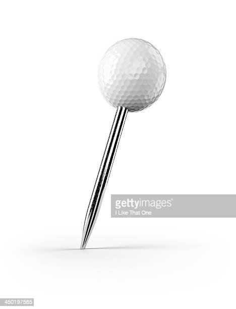 Map pin with a golfball top
