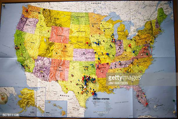 A map pinned to the wall at Republican presidential candidate Ted Cruz's headquarters shows where volunteers have came from to help in West Des...
