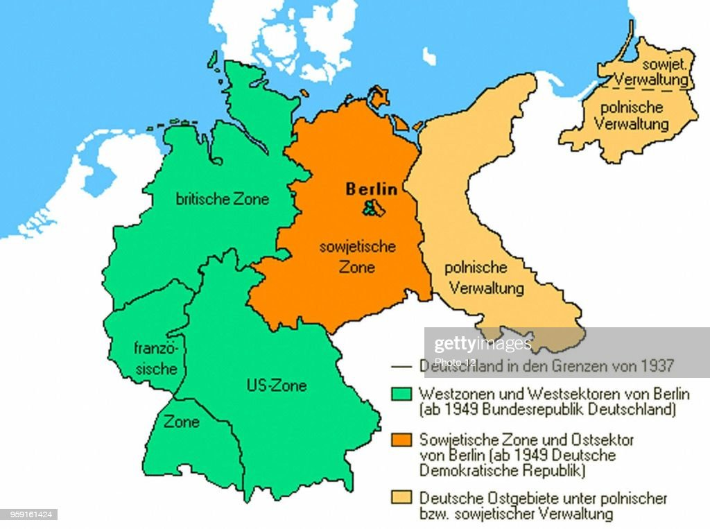 Map Of Deutschland Germany.Map Representing Germany After 1945 News Photo Getty Images