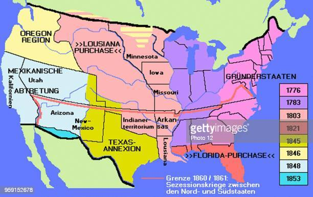 Map representing the USA expansion from 1776 until 1853. News Photo on