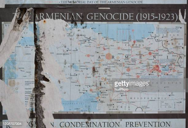 A map showing 'Armenian Genocide' places in Turkey seen in the Armenian Quarter of the Old City of Jerusalem On Wednesday March 11 in Jerusalem Israel