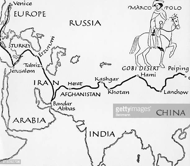 Map showing Marco Polo's route to the Far East Marco Polo's Travels