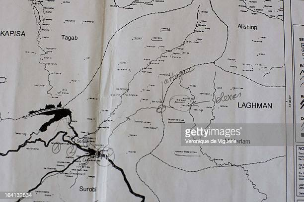 A map showing Spir Kundey where on August 18 French soldiers on a patrol in Uzbeen Valley were ambushed by insurgents 10 French soldiers were killed...