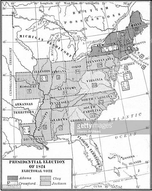 Map showing state by state breakdown of the electoral vote for the Presidential election for candidates John Quincy Adams, Andrew Jackson, William H...