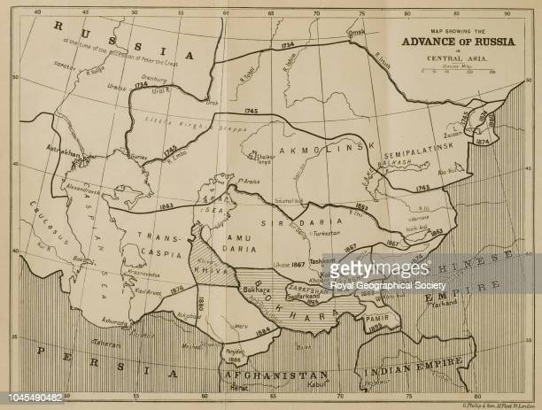 Map showing the advance of Russia in Central Asia From 'The Heart of Asia A History of Russian Turkestan and the Central Asian Khanates from the...