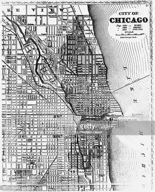 Map showing the area affected by the Great Chicago Fire, October 1871.