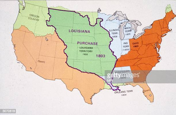 Map showing the area covered by the Louisana Purchase The land which was bought from France virtually doubled the area of the United States cost only...