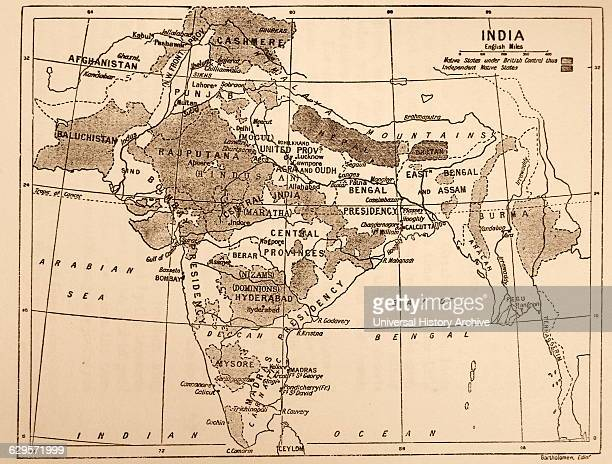 Map showing the British Control over India Dated 19th Century