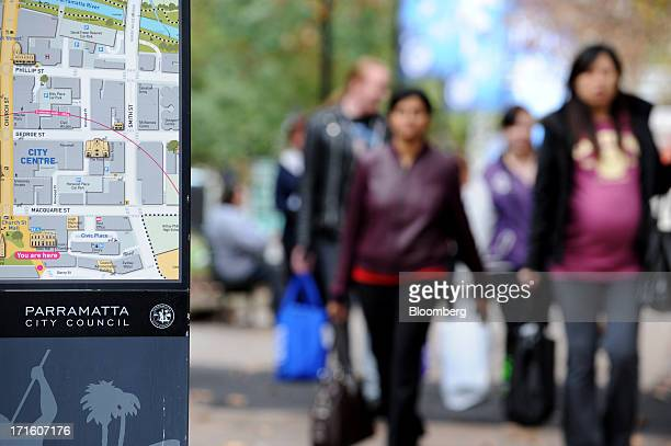A map showing the central area of the suburb of Parramatta stands on display in western Sydney Australia on Monday June 24 2013 Chris Bowen a key...