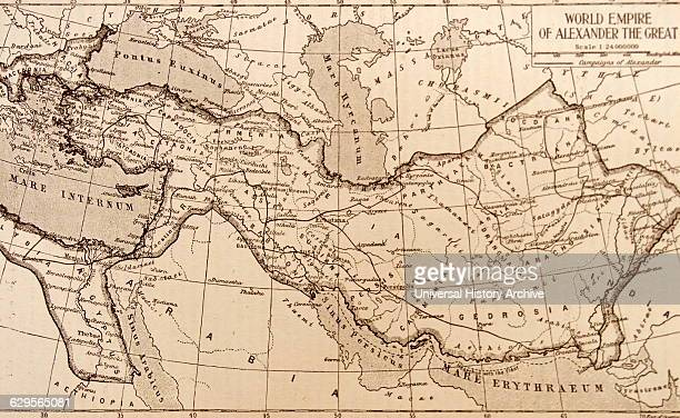 Map showing the empire of the Greek conqueror Alexander the Great 356323 BC