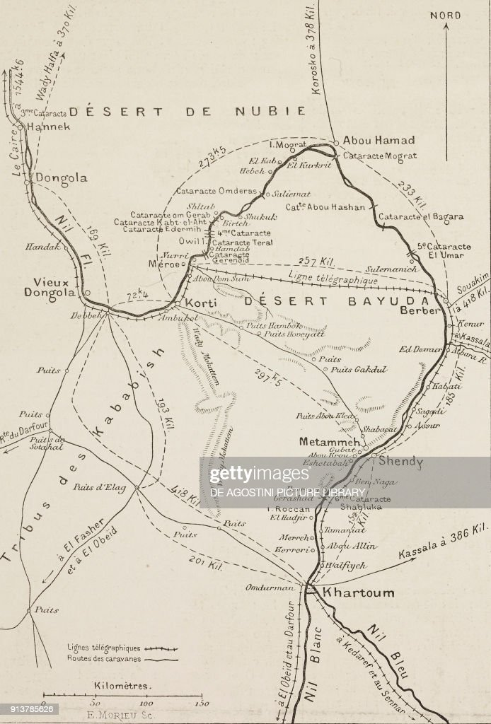 Map showing the expeditionary team's route from Dongola to Khartoum on map of elmwood, map of flossmoor, map of dalzell, map of wadi halfa, map of granite city, map of zinder, map of rumbek, map of farmer city, map of south darfur, map of kenema, map of faiyum, map of elburn, map of zeila, map of brownstown, map of kom ombo, map of arthur, map of dallas city, map of future city, map of giant city state park, map of rafah,