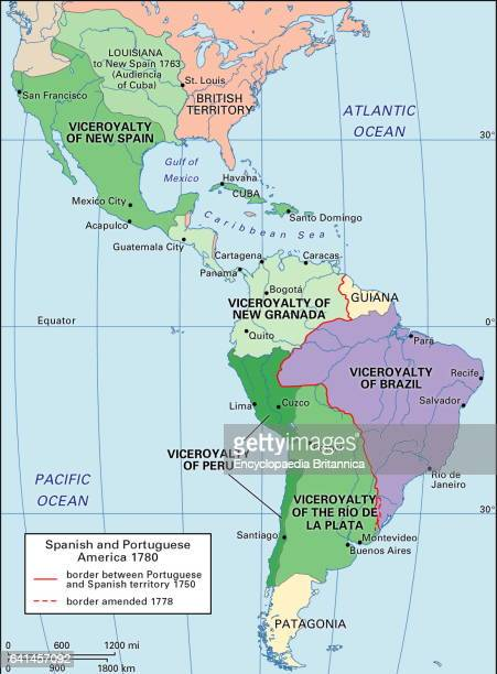 A map showing the extent of the Spanish and Portuguese viceroyalties in the Western Hemisphere