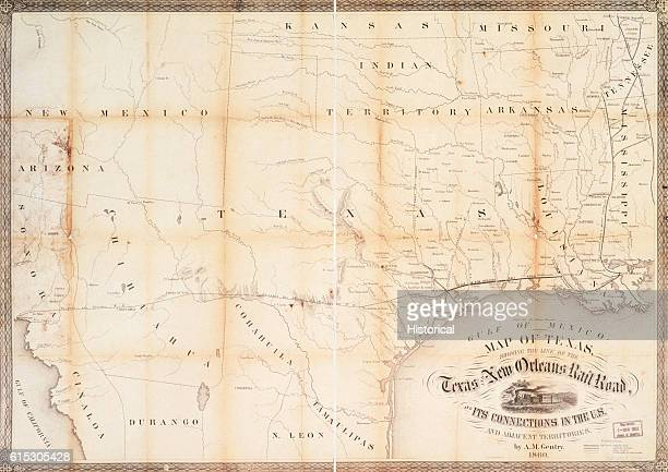 A map showing the lines of the Texas and New Orleans Railroad most of which ran along the Gulf Coast and the Mississippi River 1860