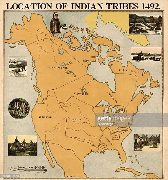 Map showing the locations of the different Native American Indian tribes on the North American territories at the time of Christopher Columbus'...