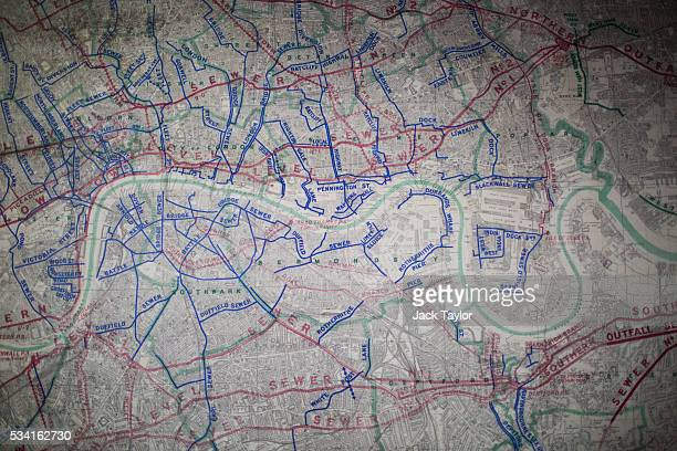 A map showing the main intercepting and storm relief sewers in London on display The Abbey Mills pumping station in Stratford on May 25 2016 in...
