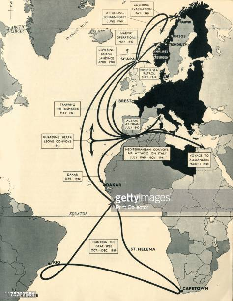 Map showing the movements of 'HMS Ark Royal', 1939-1941, . Map of the Atlantic Ocean, western Europe and Africa, indicating journeys and principal...