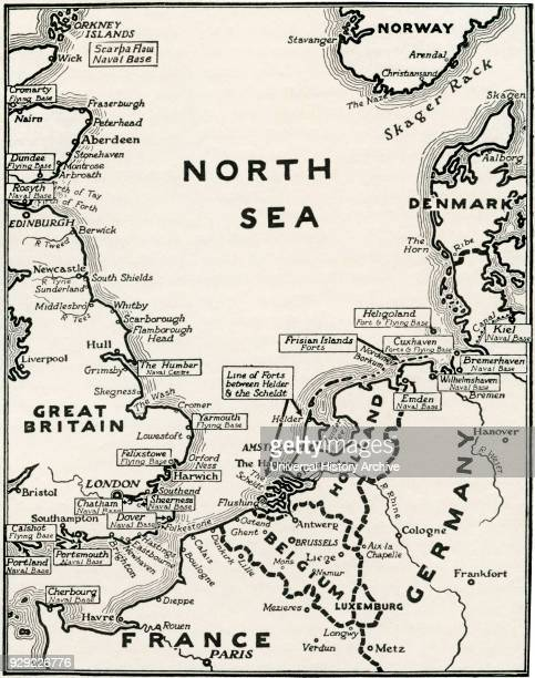 Map showing the naval bases of the North Sea during World War One From The History of the Great War published c 1919