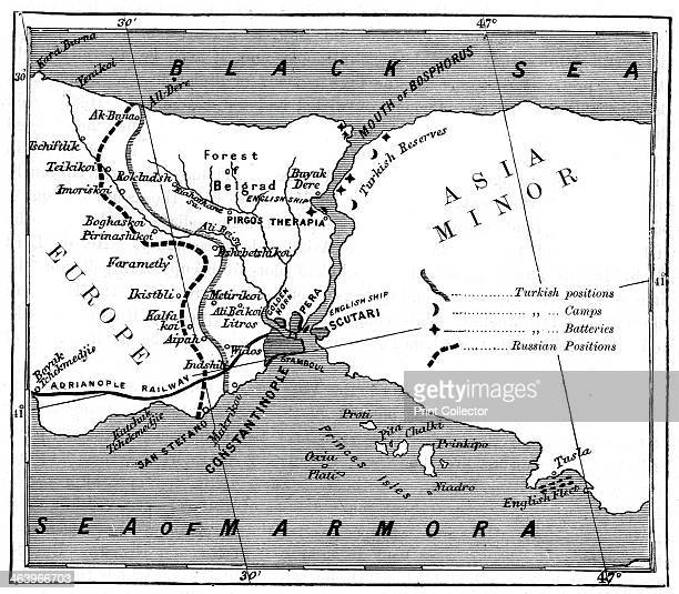 A map showing the positions of Russian and Turkish lines outside Constantinople 1900 Illustration of one of the many RussoTurkish wars In the centre...