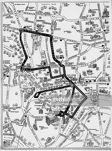 A map showing the procession route along which Queen Elizabeth II will travel on Coronation Day 2nd June 1953