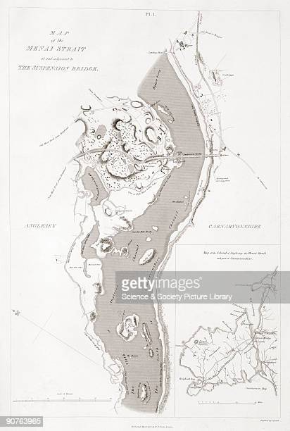 Map showing the suspension bridge over the Menai Strait between Carnarvon on the right and the Isle of Anglesey The bridge connecting the Welsh...