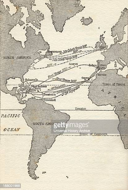 Map Showing The Voyages Of Christopher Columbus And John Cabot From The Great Explorers Columbus And Vasco Da Gama