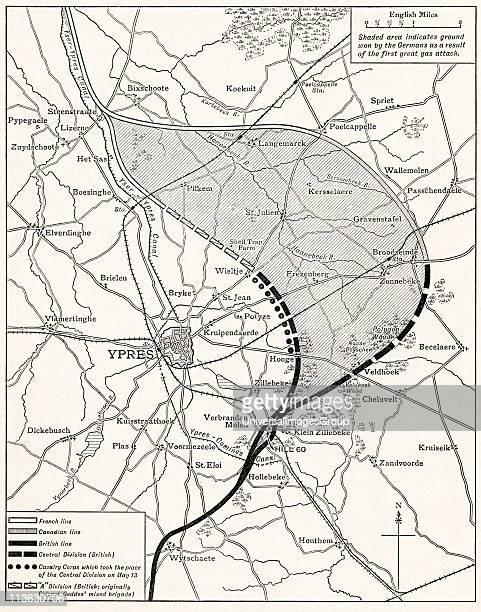 Map showing the Ypres Salient before and after the Second Battle of Ypres April and May 13 1915 From The Great World War A History Volume III...