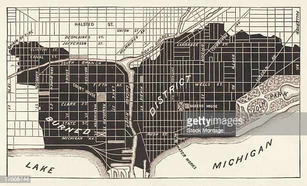 Map shows a portion of the city of Chicago with the shaded area marking the more than 2000 acres of land and real estate destroyed in the Great...