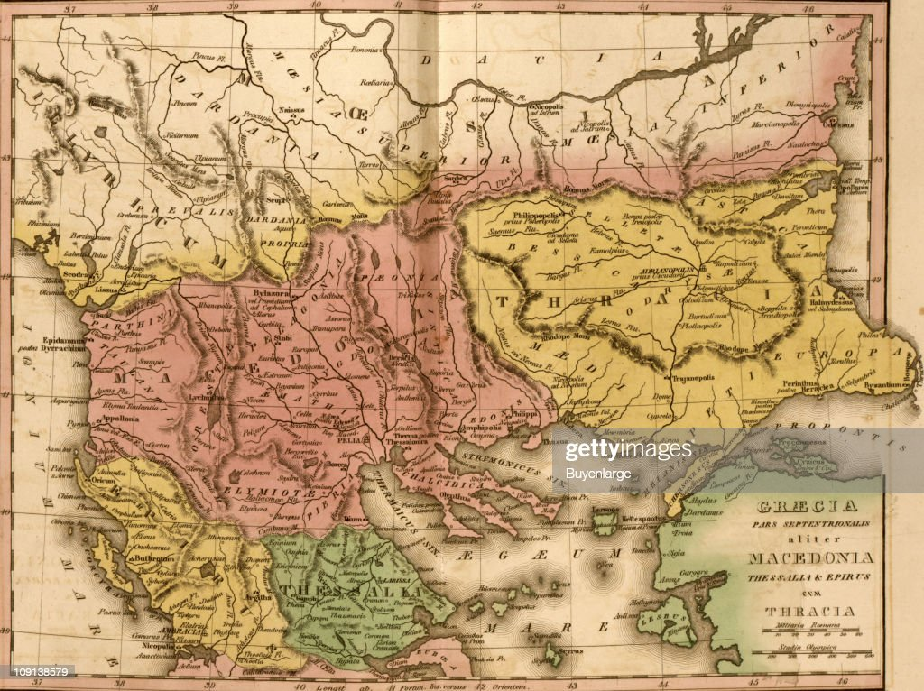 Ancient Greece Map Macedonia.A Map Shows Ancient Greece Macedonia And Thrace News Photo