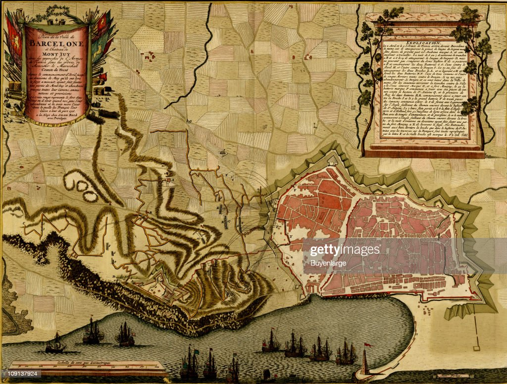 Map Of Spain 1700.A Map Shows Barcelona And The Surrounding Countryside Spain 1700