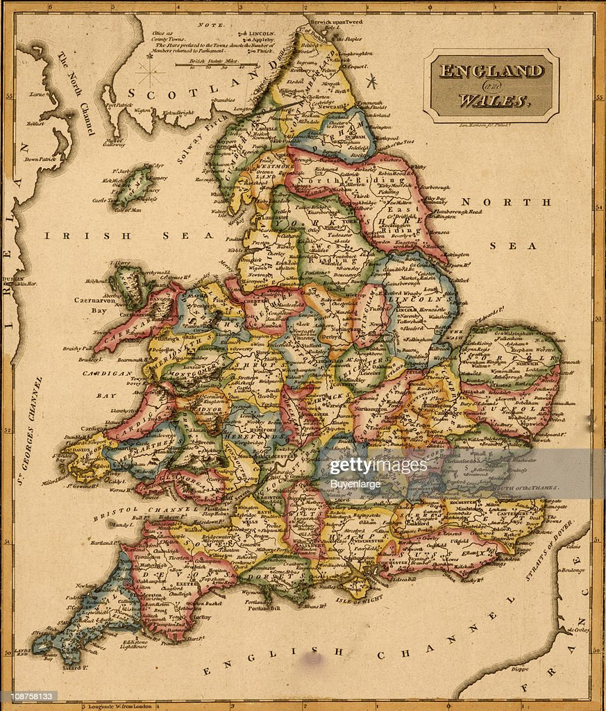 Show Map Of England.Map Shows England Wales 1817 News Photo Getty Images