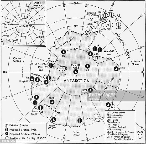 Map shows existing and proposed observations stations of the 11 nations undertaking scientific work in Antarctica during the 195758 International...