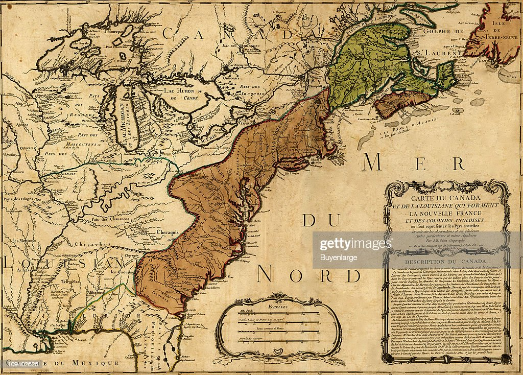 French claims in north america 1756 pictures getty images a map by jean baptiste luis nolin shows french claims on the eastern gumiabroncs Images