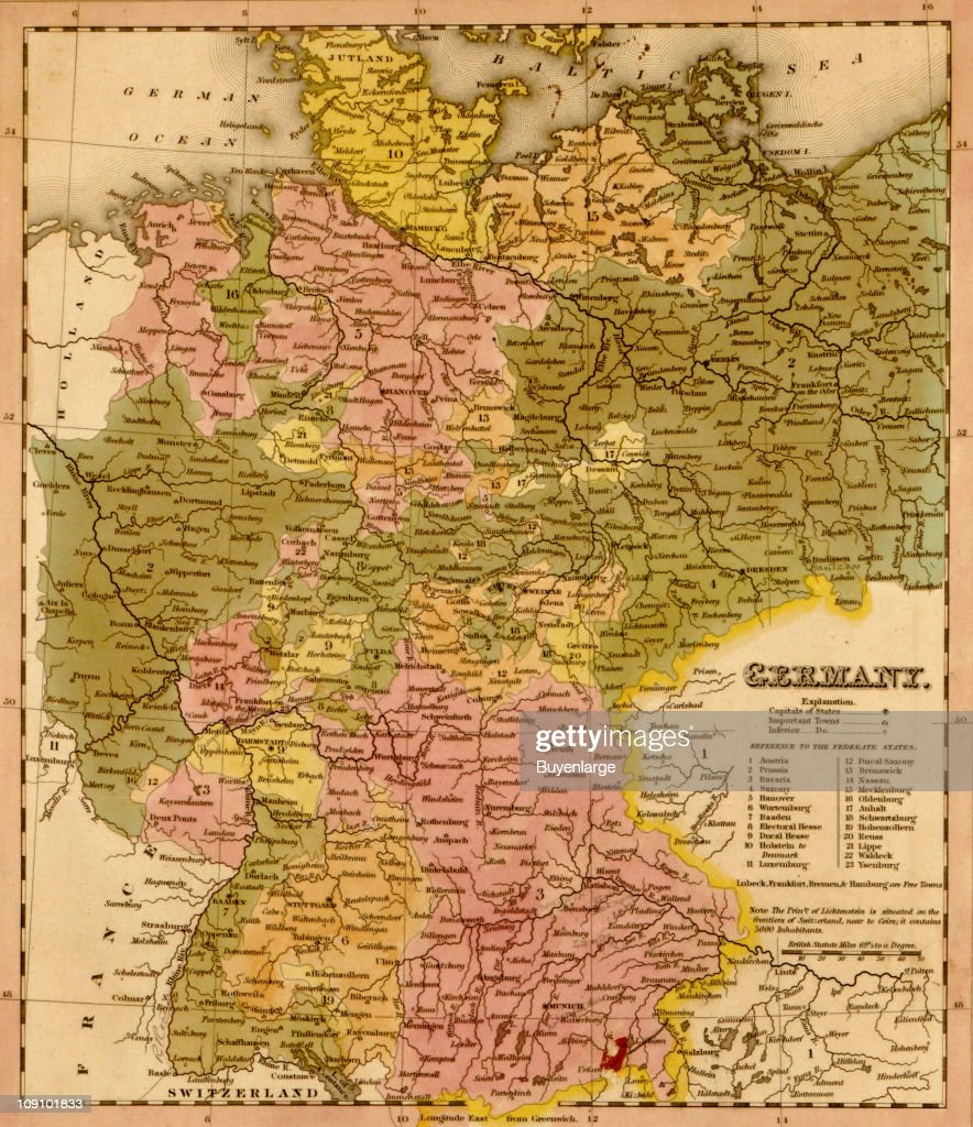 Show Map Of Germany.A Map Shows Germany 1844 News Photo Getty Images