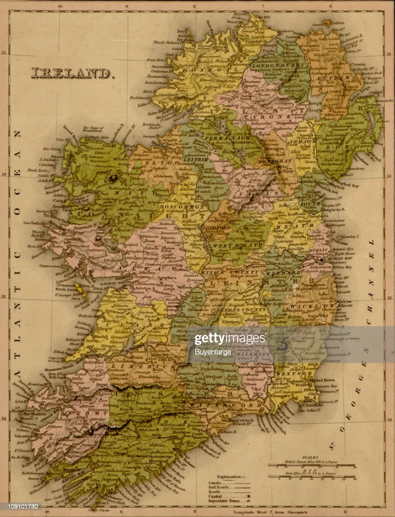 Show Map Of Ireland.A Map Shows Ireland 1844 News Photo Getty Images