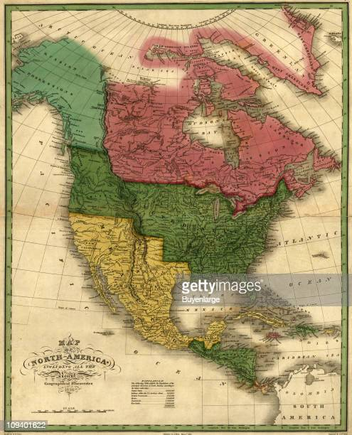 A map shows North Central Americas including the United States Mexico and the British and Russian claims 1826