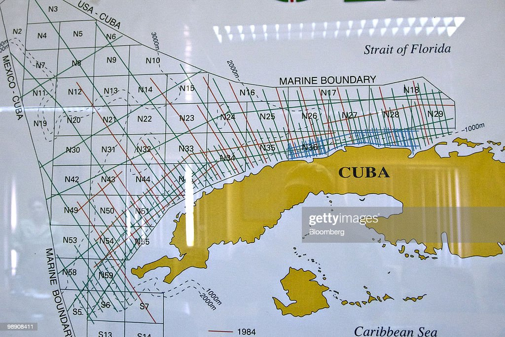 Oil and natural gas operations in cuba photos and images getty a map shows offshore oil deposits at a state owned cupet sa facility along the sciox Choice Image
