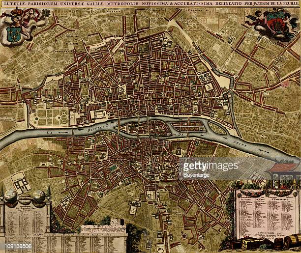 A map shows Paris France 1700