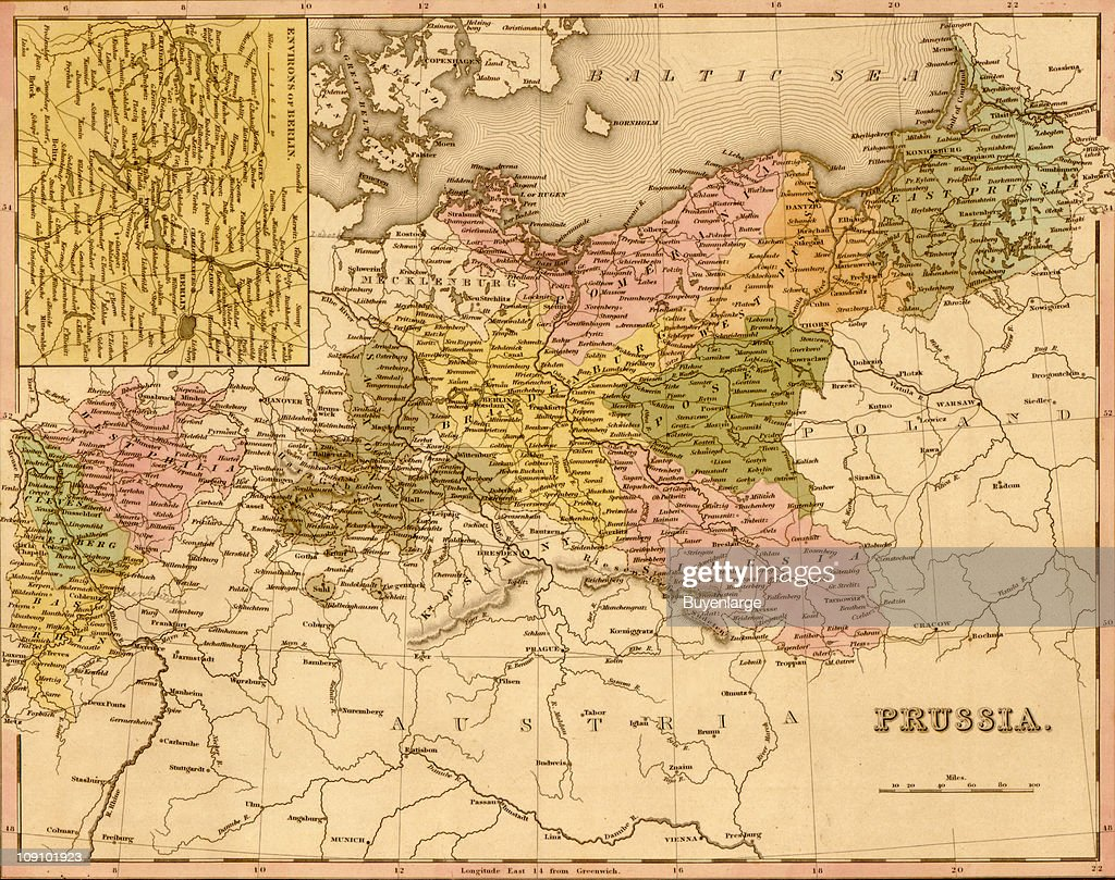 a map (by henry schenck tanner) shows prussia . map of prussia  pictures  getty images