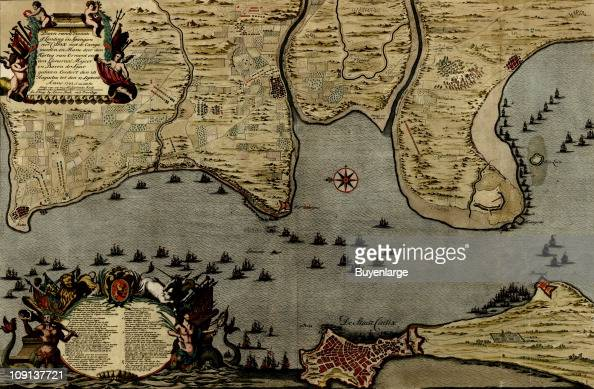 Map Of Spain 1700.A Map Shows Ship Placements In The Straits Of Cadiz Spain 1700