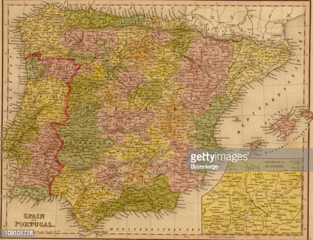A map shows Spain and Portugal 1844