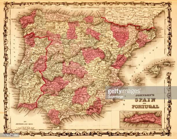 A map shows Spain and Portugal 1862