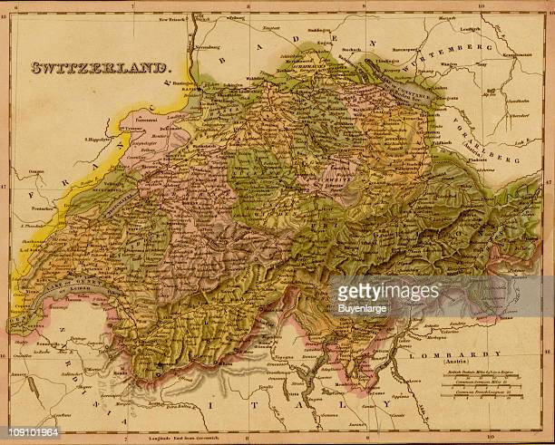 Map Of Switzerland, 1844 Pictures | Getty Images