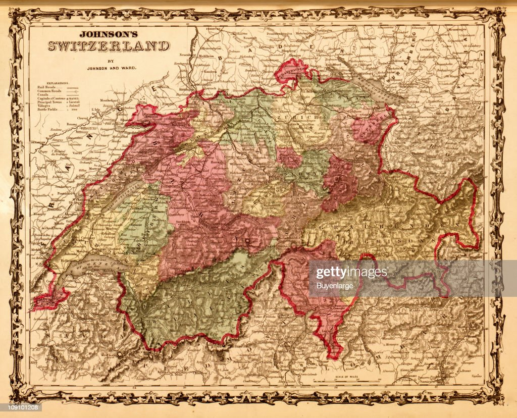 A map shows Switzerland, 1862. News Photo | Getty Images