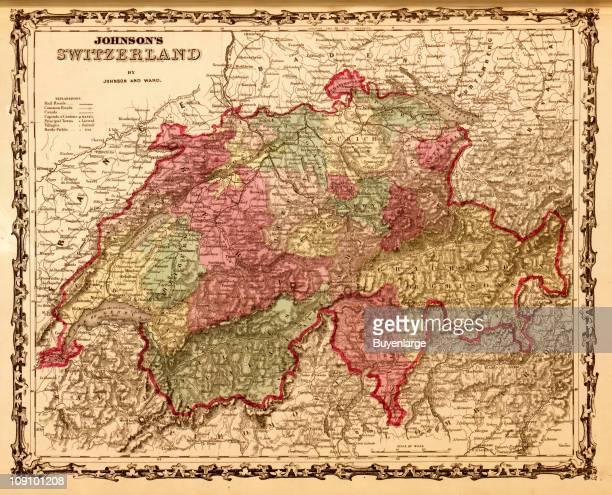 A map shows Switzerland, 1862. Nachrichtenfoto - Getty Images